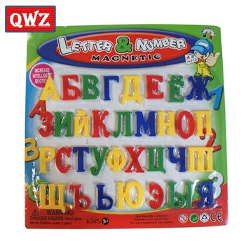 QWZ Russian Letters Symbols Alphabet Magnetic Toys for Pen To Learn Spelling Calculation Kids Educational Toys Fridge Magnet