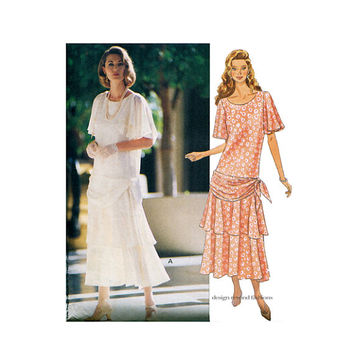 20s Look DRESS PATTERN Drop Waist Dresses Draped Hip Butterick 6830 Victoria Magazine Collection Bust 34 36 38 UNCuT Womens Sewing Patterns