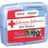 Johnson & Johnson Red Cross - Portable Travel First Aid Kit, 70 Pieces, Plastic Case - Walmart.com