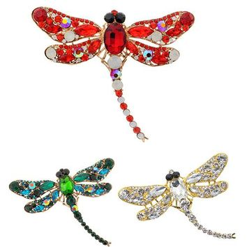 2016 Women's Fashion Dragonfly Crystal Brooch Lovely Rhinestone Scarf Pin Jewelry AR1M