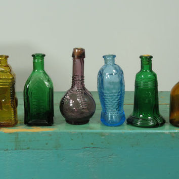Lot of 6 Taiwan Miniature Bitters Bottles • Like Wheaton • Blue Green Purple Amber • Liberty Bell Fish Ball & Claw Cathedral  • Group C