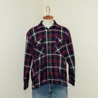 Vintage Amazing 70s PLAID FLANNEL Grunge Outdoors Medium Men Seattle Acrylic Soft Button Up Longsleeve SHIRT