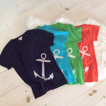 Cashmere Anchor Tee - Pink Pineapple Shop