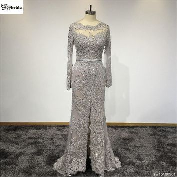 2017 New Design Prom Dress Real Pictures Evening Gown Long Sleeves Customized Lace Beading Dresses for Party evening dress