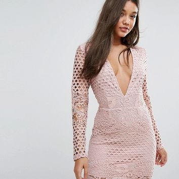 Missguided Lace Sleeve Plunge Bodycon Dress at asos.com