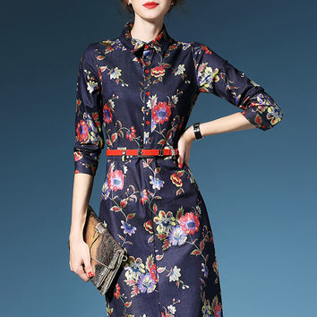 Floral Print Half Sleeve Midi Dress with Belt