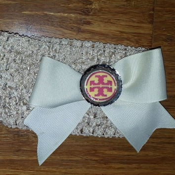 TORY BURCH Inspired HAIRBOW Bottlecap Hair Bow Grosgrain Ribbon by Mama Duck Creations