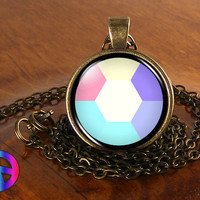 Steven Universe Opal Gem Necklace Cosplay Glass Photo Pendant Jewelry Toy Gift