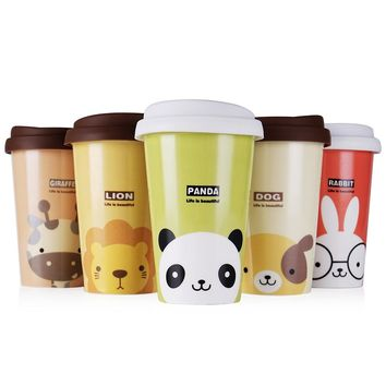 UPSTYLE Cute Animal Pattern Reusable Travel Cup To Go Coffee Cup Ceramic Mug with Silicone Lid and Cup Sleeve for Tea and Coffee