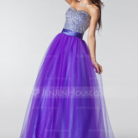 [US$ 158.99] A-Line/Princess Sweetheart Floor-Length Tulle Prom Dress With Ruffle Beading Sequins (018004898)