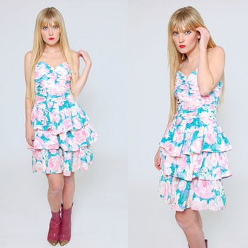 Vintage 80s FLORAL Mini Dress PASTEL Flower Print Sleeveless RUFFLE Babydoll Bustier Dress Party Dress