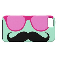 Pink Sunglasses Mustache Mint iPhone 5 Case from Zazzle.com