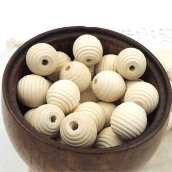 DIY Natural 17mm Round Maple WOODEN Beads Wood Beads Teething Necklace Accessory 100pcs Circle Stripe Wood EA308