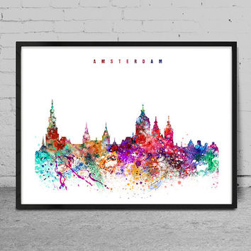 Amsterdam Watercolor Print, watercolor Art, Wall art, Amsterdam Skyline, Cities Art, Wall Art, typography art, Decor-x06