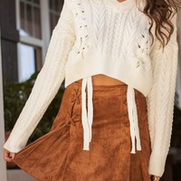 For The Love Of Lace Ivory Crop Sweater