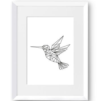 Hummingbird, polygon, art, line art, Swedish, Home Decor, Mid Century Modern, Scandinavian Print, Nursery art, Printables, Digital Print