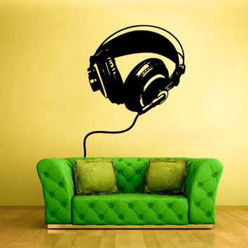 rvz1373 Wall Decal Vinyl Sticker Decals Headphones Music Notes Beats Audio