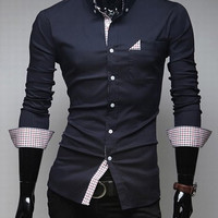 Cadet Blue One Pocket Long Sleeve Shirt with Plaid Detail