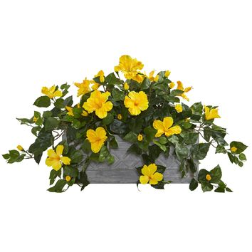 Artificial Plant -Hibiscus Plant with Stone Planter