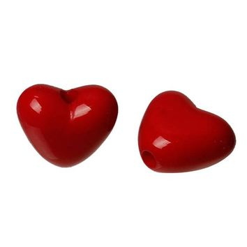 Pack of 200 Red Heart Acrylic Beads. 11mm x 10mm with 1mm Hole. For Valentine's Gift, Earrings, Necklace, Bracelet, Macrame and Craft