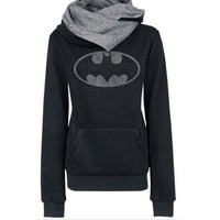 Black Batman Logo Hoodie Pocket Sweatshirt