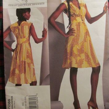SALE Uncut Vogue Sewing Pattern, 1086! 18-20-22-24 Women's/Misses/Large/XL/XXL/Plus Sizes, Formal or Casual Flared Dress/Mid Knee/Loose Fitt