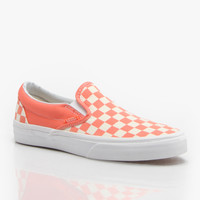 Vans Classic Slip-On Girls Skate Shoes - Fusion Coral/White/Checker