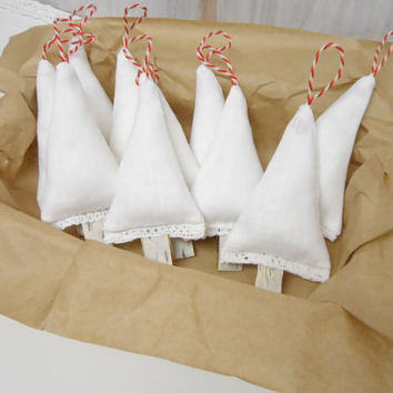 Sale!!! Primitive Christmas decoration. Christmas Ornaments. 10 linen tree whit lace, birch