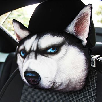 Car Headrest auto headrest Lovely 3D Printed Animals Face car Seat Covers Neck Auto Safety Headrest Supplies