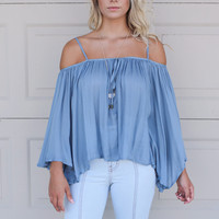 Sonoma City Blue Bell Sleeve Off The Shoulder Top