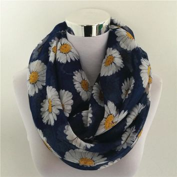 new chrysanth scarves viscose women Infinity Scarf Snood hijab daisy Scarf trumpet flower long scarf hot sale floral bandana