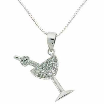 Sterling Silver Simulated Diamond cz Martini Glass Pendant