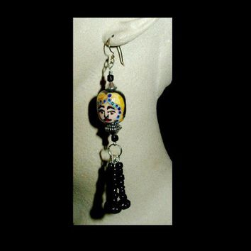 MIDNIGHT LADY Unique Handmade, Hand Painted,Long Dangle Earrings | whiteowldesigns - Jewelry on ArtFire