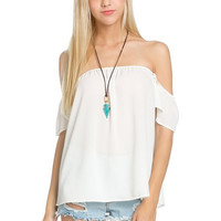 Flowy Off the Shoulder Blouse - Ivory