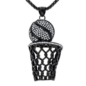 Basketball necklace stainless steel for men women gold silver color pendant charm W chain jewelry gifts for him her A041