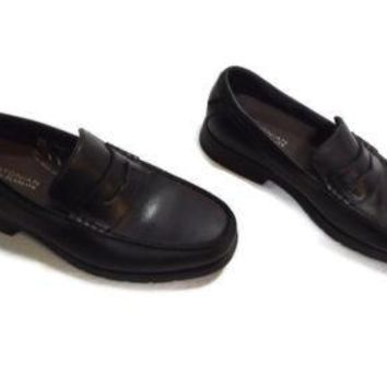 BOSTONIAN BLACK FLEXLITE mens  LEATHER Loafers Shoes Size 7.5 M Shock Absorb