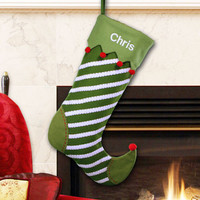 Striped Jester Christmas Stocking