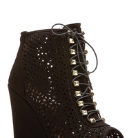 Bamboo Black Lace Stud Cut Out Single Sole Wedges