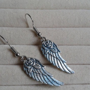 blue glitter  colored   Angel wings dangle earrings