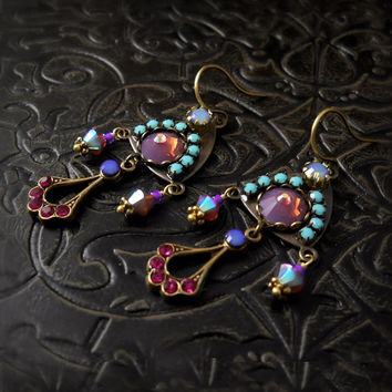 Venus Micro Mosaic Rhinestone Earrings - Violet Purple Turquoise Fuchsia Pink - Custom Bohemian Wedding, Bridesmaid, Antique Brass