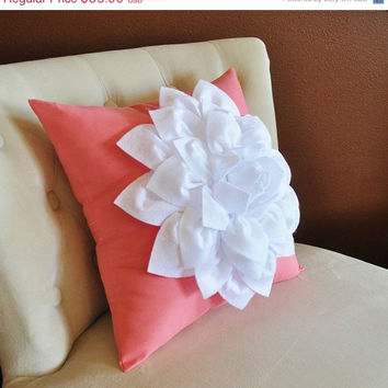 MOTHERS DAY SALE White Dahlia Flower on Coral Pink Pillow Accent Pillow Throw Pillow Toss Pillow