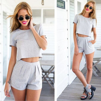 Scoop Short T-shirt Shorts Sexy Casual Two Pieces Set