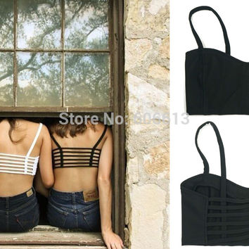 Women Sexy Padded Bra Crop Tops Sport Straped Bralette Cage Tank Tops Camisoles Bra