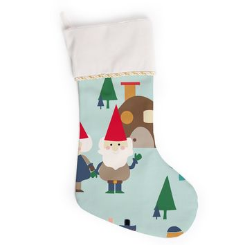 "bruxamagica ""Gnome Blue"" Blue Multicolor Holiday Kids Digital Vector Christmas Stocking"