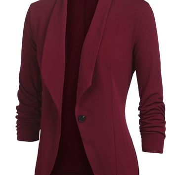 Beyove Women's 3/4 Shirring Sleeve One Button Stretch Knit Blazer Wine Red S