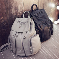 Back To School Casual Zippers Rinsed Denim Stylish Ladies Backpack [6582196423]