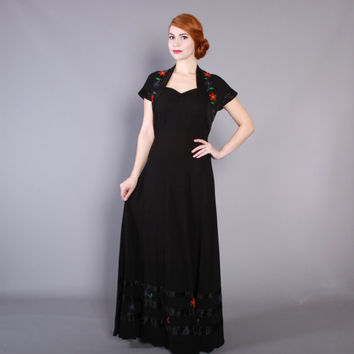 30s Black Rayon Evening GOWN / Vintage 1930s DRESS with Red, Green & Blue Floral Embroidery, s - m