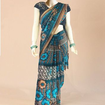the rustic turquoise hand-printed saree