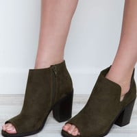 Follow My Lead Booties - Olive