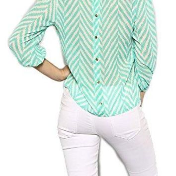 SHOPGLAMLA Bow Back Shift Solid Chiffon Bishop 34 Sleeves Scoop Neck Top Blouse Made in USA